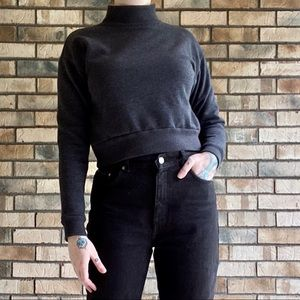 Wild Fable Charcoal Mock Neck Sweatshirt Crop Top